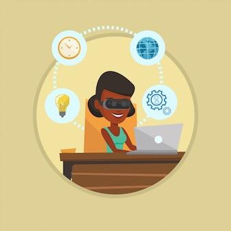 Geschäftsfrau im vr-headset, das am computer arbeitet.