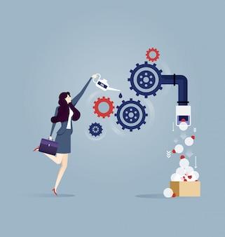 Geschäftsfrau implementiert ein geschäftsideenkonzept.