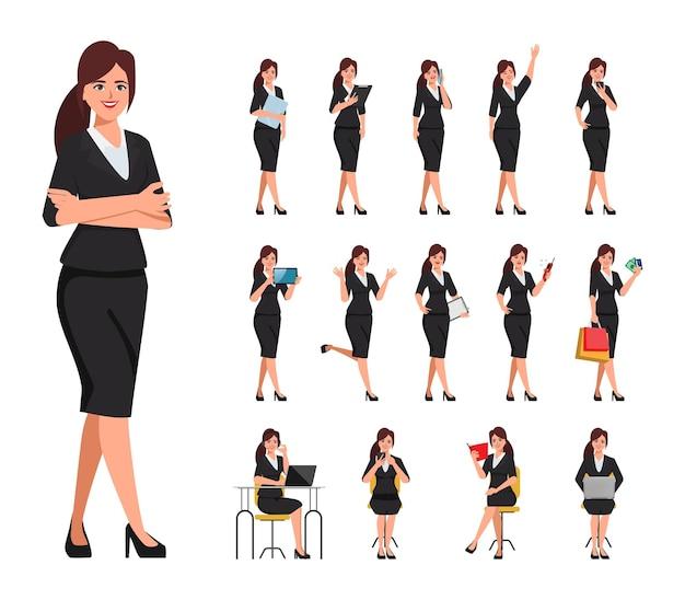 Geschäftsfrau in anzugkleidung mit jobroutinecharakterhaltung.