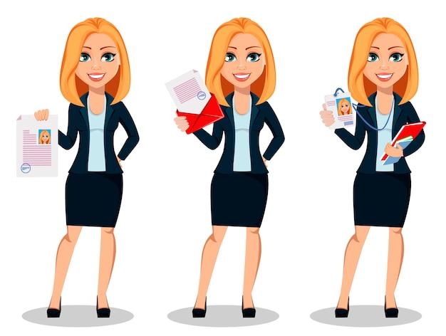 Geschäftsfrau in büroartkleidung