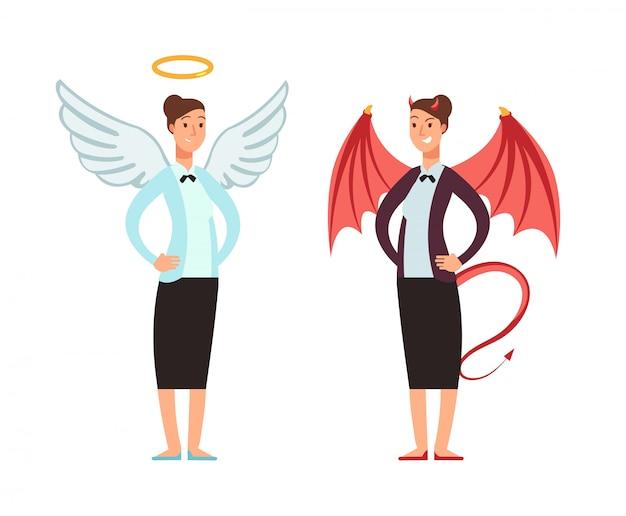 Geschäftsfrau in der engels- und teufelklage. gute und schlechte frauenvektorzeichentrickfilm-figur