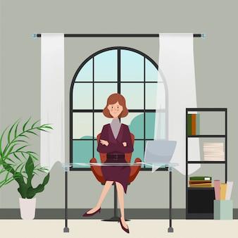 Geschäftsfrau in der innenarchitektur des büroraumes. handgezeichnete charakter menschen. büroarbeitsplatz.