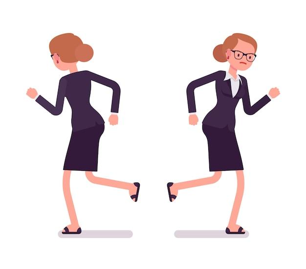 Geschäftsfrau in der laufenden, vorderen und hinteren ansicht der formellen kleidung