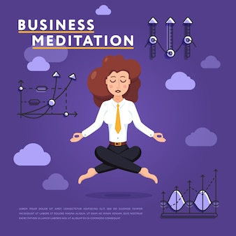 Geschäftsfrau in der meditationshaltung auf arbeitsillustration
