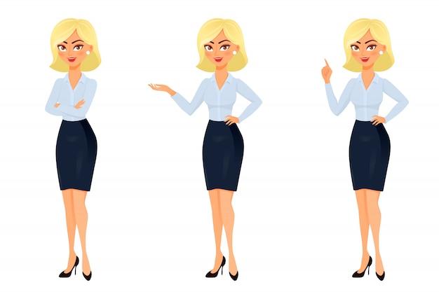 Geschäftsfrau in verschiedenen posen.