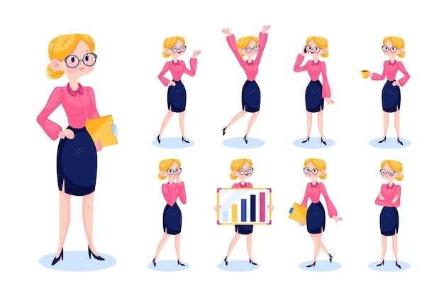 Geschäftsfrau in verschiedenen positionen eingestellt Kostenlosen Vektoren