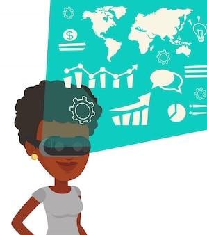Geschäftsfrau in vr brille, die virtuelle daten analysiert