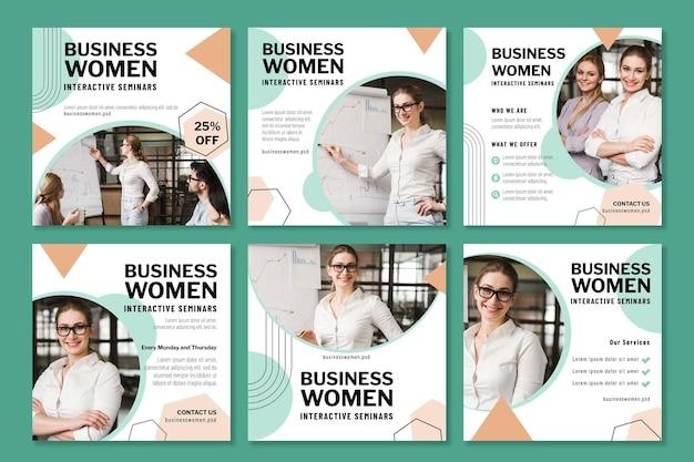 Geschäftsfrau instagram beiträge design-vorlage