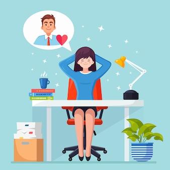 Geschäftsfrau ist entspannend und träumt von mann mit rotem herzen am bürostuhl. liebe, romantisch