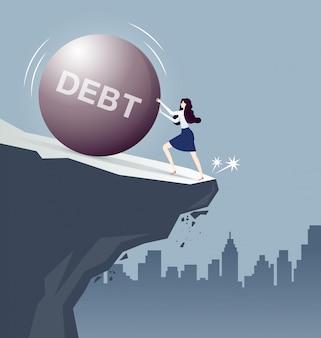 Geschäftsfrau kämpfender schuldeneisenball, fast abfallend