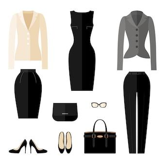 Geschäftsfrau kleidet ikonen im flachen stil.