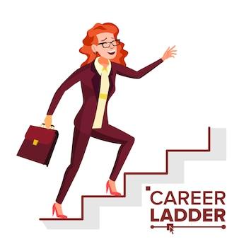 Geschäftsfrau-kletternde karriereleiter