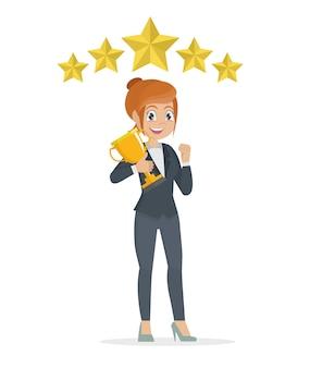 Geschäftsfrau-konzeptsiegererfolg. aufgeregte lächelnde karikaturfrau, die herauf trophäe anhebt.