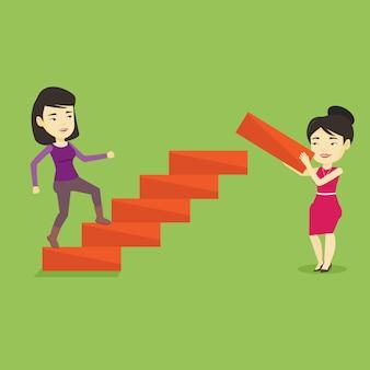 Geschäftsfrau läuft die karriereleiter hinauf.