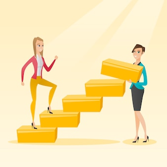 Geschäftsfrau läuft die karriereleiter hoch.