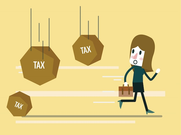 Geschäftsfrau läuft weg von steuerfelsen zusammenfassung hintergrund auf die gewerbesteuerbelastung. flache design-elemente. vektor-illustration