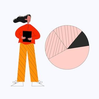Geschäftsfrau macht eine präsentation in der nähe des kreisdiagramms
