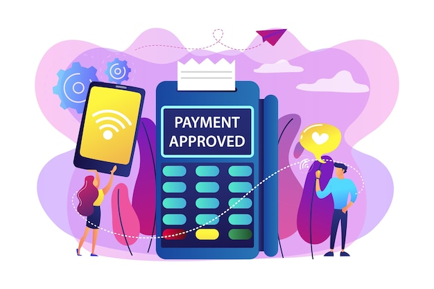 Geschäftsfrau macht kontaktloses bezahlen per handy. nfc-verbindung, nfc-kommunikationsstand, konzept für kontaktlose zahlungsmethoden. helle lebendige violette isolierte illustration