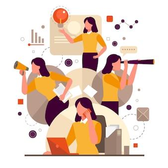 Geschäftsfrau macht multitasking-aktivitäten