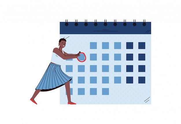 Geschäftsfrau macht notizen auf kalender, skizze vektor-illustration isoliert.