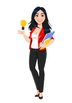 Geschäftsfrau, manager, bankier, schönes erfolgreiches mädchen. geschäftsfrau-cartoon-figur mit einer guten idee. vektorgrafik auf lager