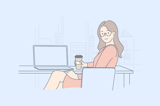 Geschäftsfrau manager im büro, mittagessen, freizeitkonzept
