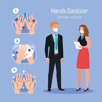 Geschäftsfrau mann und hände waschen schritte