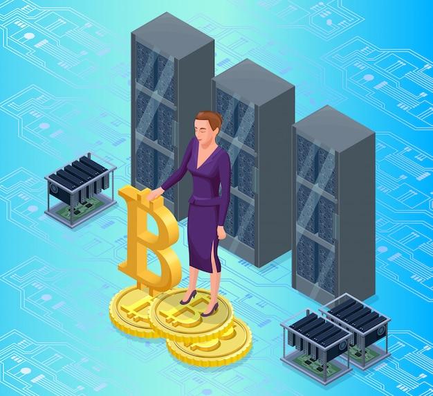 Geschäftsfrau mit bitcoin lokalisiertem symbol