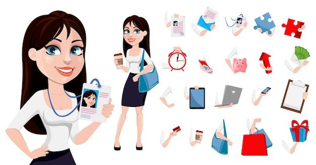 Geschäftsfrau mit braunen haaren, konzept der zeichentrickfigur