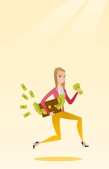 Geschäftsfrau mit dem aktenkoffer voll vom geld.