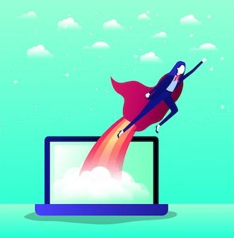Geschäftsfrau mit dem heldenmantel, der in laptop fliegt