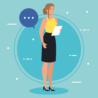 Geschäftsfrau mit dokument und sprechblase