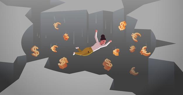 Geschäftsfrau mit dollar euro-zeichen fallen in loch abgrund finanzkrise konkurs konzept horizontale in voller länge