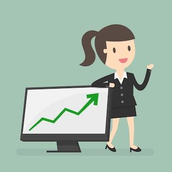 Geschäftsfrau mit einem diagramm