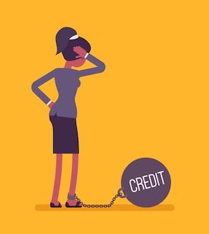 Geschäftsfrau mit einem gewicht credit angekettet