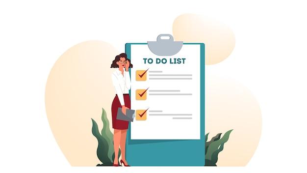 Geschäftsfrau mit einer langen to-do-liste. großes aufgabendokument. frau, die ihre tagesordnungsliste betrachtet. zeiteinteilung . idee der planung und produktivität. illustrationssatz