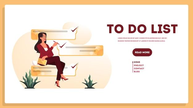 Geschäftsfrau mit einer langen to-do-liste. großes aufgabendokument.