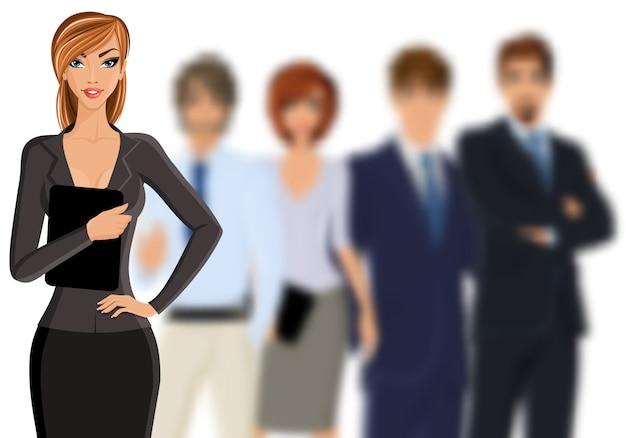 Geschäftsfrau mit geschäftsteam