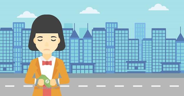 Geschäftsfrau mit handschellen gefesselt für verbrechen.