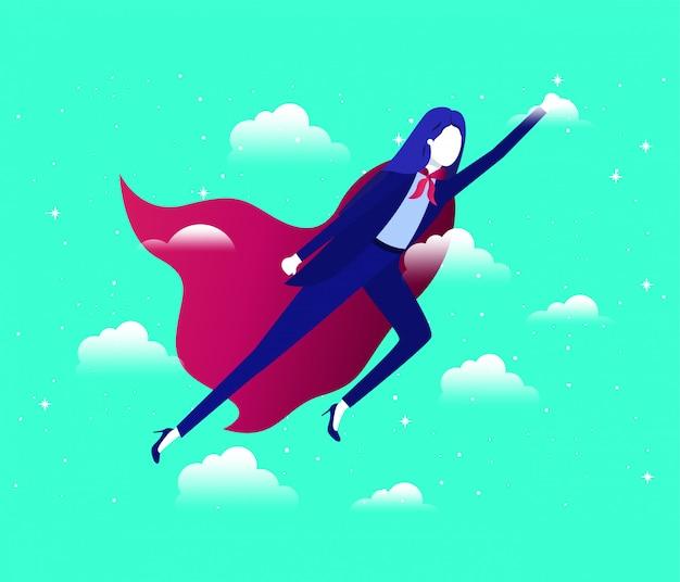 Geschäftsfrau mit heldenmantel fliegen in den himmel