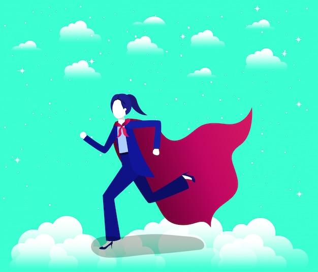 Geschäftsfrau mit heldenmantel in den himmel laufen