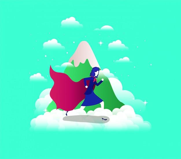 Geschäftsfrau mit heldenmantel in den himmel und die berge laufen