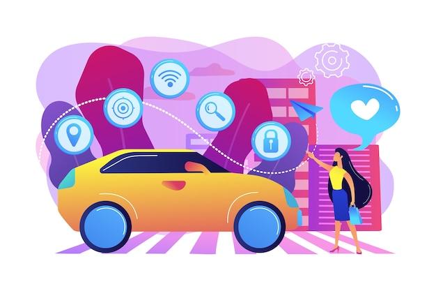 Geschäftsfrau mit herz benutzt gerne autonomos auto mit technologie-ikonen. autonomes auto, selbstfahrendes auto, fahrerloses roboterfahrzeugkonzept. helle lebendige violette isolierte illustration