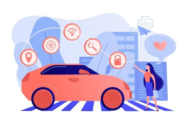 Geschäftsfrau mit herz benutzt gerne autonomos auto mit technologie-ikonen. autonomes auto, selbstfahrendes auto, fahrerloses roboterfahrzeugkonzept