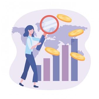 Geschäftsfrau mit lupe und statistikstab