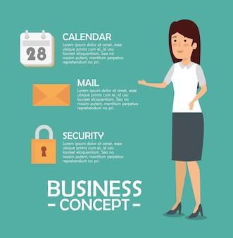 Geschäftsfrau mit mitteilungsinformationen