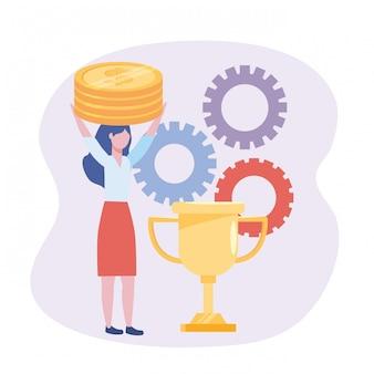 Geschäftsfrau mit münzen und cuppreis mit gängen