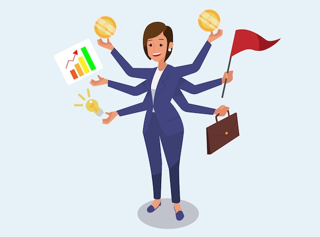 Geschäftsfrau mit multitasking-fähigkeiten.