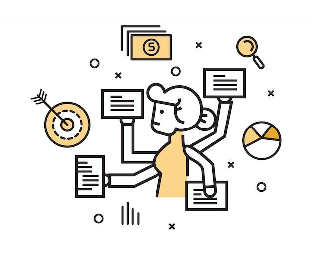 Geschäftsfrau mit multitaskingarbeit