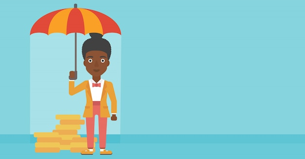 Geschäftsfrau mit schützendem geld des regenschirmes.